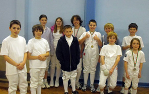 Cadet students at a sword fencing session